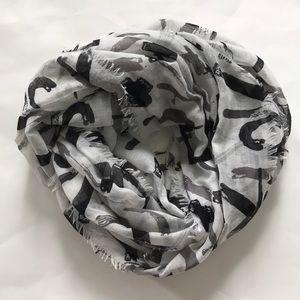 Black & Grey Printed Infinity Scarf